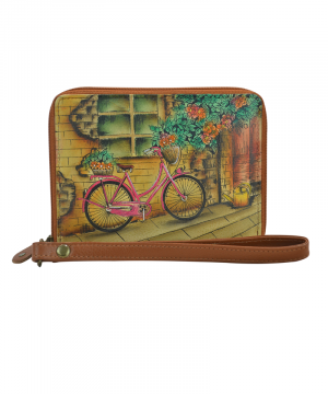 Portofel compartimentat cu bareta, din piele naturala, Vintage Bike - Anuschka
