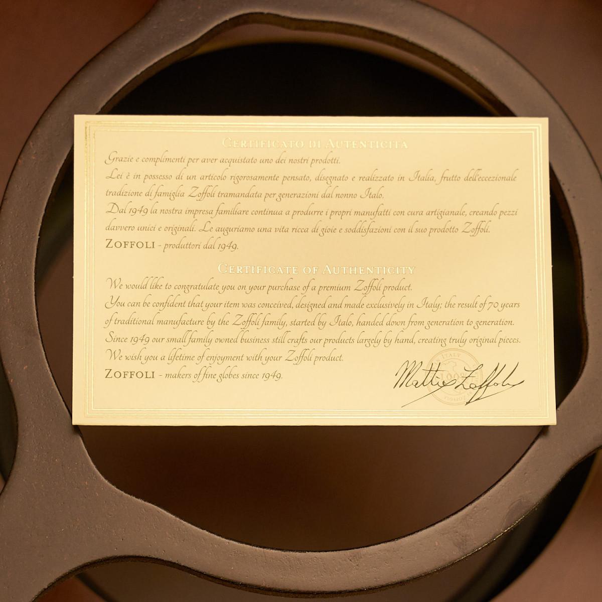 certificat autenticitate Zoffoli
