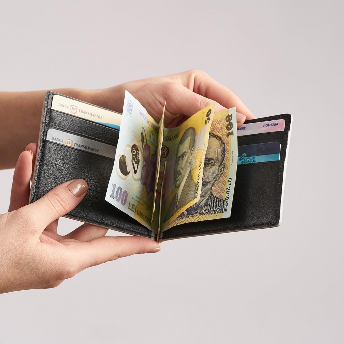 portcard  cu clips de bani